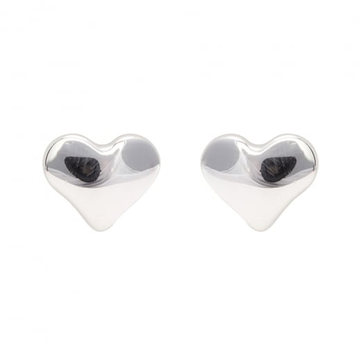 Danish Collection Heart Silver Stud Earrings