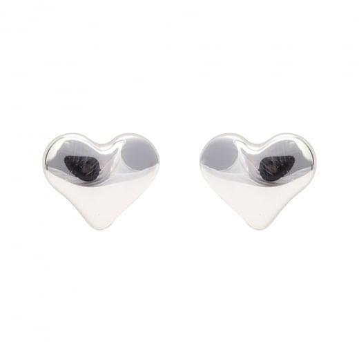 Danish Collection Heart Silver Stud Earrings
