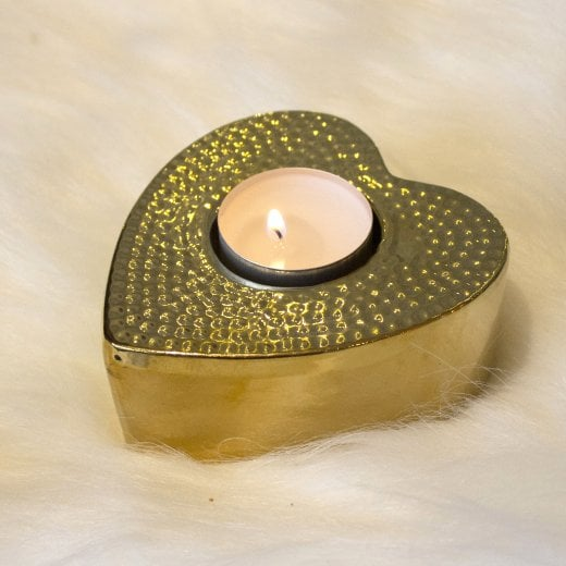 Danish Collection Heart Tealight Holder - Gold