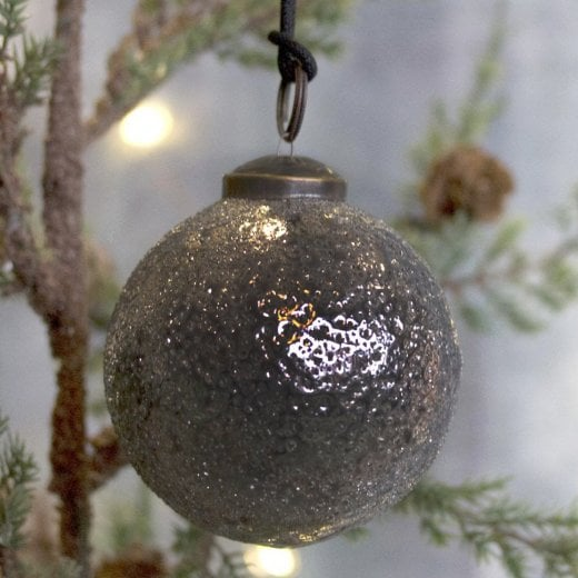 Danish Collection Iced Large Glass Bauble - Anthracite