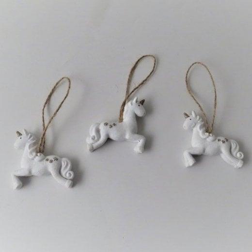 Danish Collection Jumping Unicorn Decoration - White