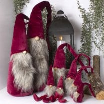 Danish Collection KAJ Velvet Gnome Red/White Beard - LARGE DANGLY LEGS H32cm