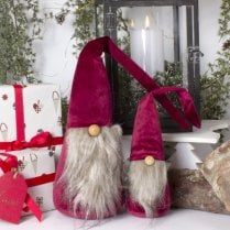 Danish Collection KAJ Velvet Gnome Red/White Beard - MEDIUM H46cm