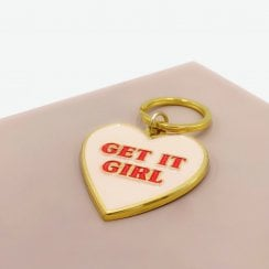 Danish Collection Key Ring - Get It Girl - Pink/Red/Gold