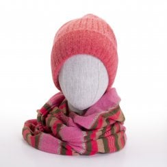 Danish Collection Knit Hat With Warm Lining - Coral
