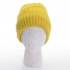 Danish Collection Knit Hat With Warm Lining - Mustard Yellow