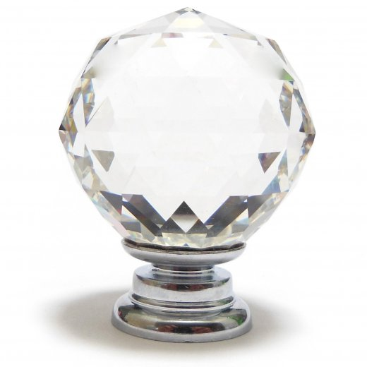 Danish collection knob clear crystal cut facetted glass for Clear glass bathroom accessories