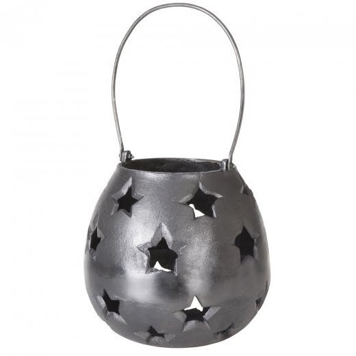 Danish Collection Lantern w/star Black H21cm