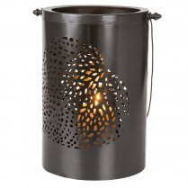 Danish Collection Lantern with leaf pattern black H24cm
