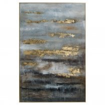 Danish Collection Large Abstract Image with Gold Frame - Grey & Gold