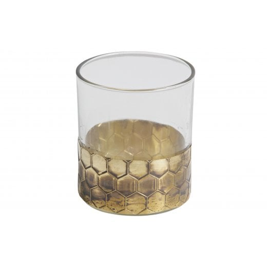 Danish Collection Large Glass Candle Holder - Gold Wrap