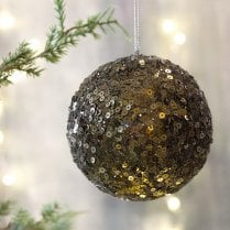 Danish Collection Large Sequin Bauble - Moss Green