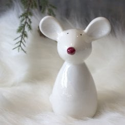 Danish Collection Large Standing Mouse Figurine - White