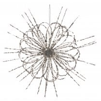 Danish Collection Large Wire Style Glitter Flower - Champagne