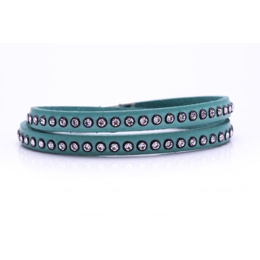 Danish Collection Leather Bracelet with Swarovski Crystals - Aqua