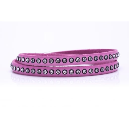 Danish Collection Leather Bracelet with Swarovski Crystals - Baby Pink