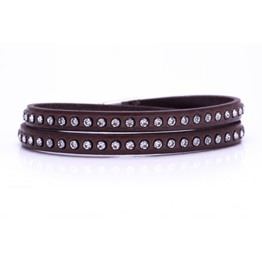 Danish Collection Leather Bracelet with Swarovski Crystals - Brown