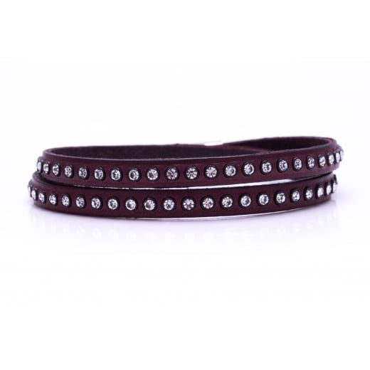Danish Collection Leather Bracelet with Swarovski Crystals - Burgundy