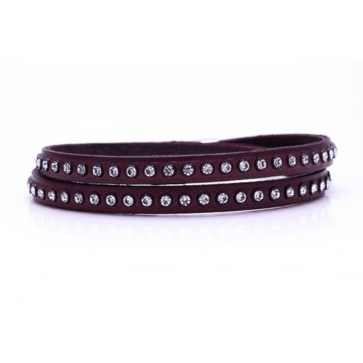 Danish Collection Leather Bracelet with Swarovski Crystals - Burgundy