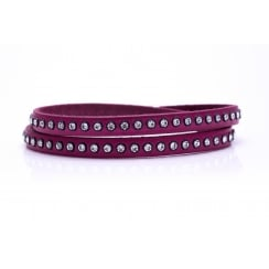 Danish Collection Leather Bracelet with Swarovski Crystals - Fuchsia Pink