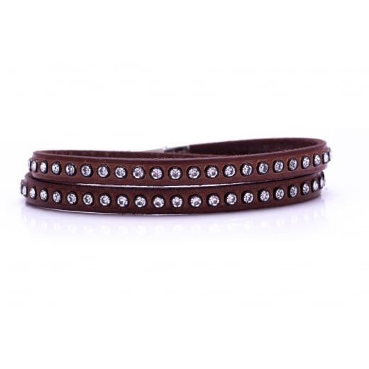 Danish Collection Leather Bracelet with Swarovski Crystals - Light Brown