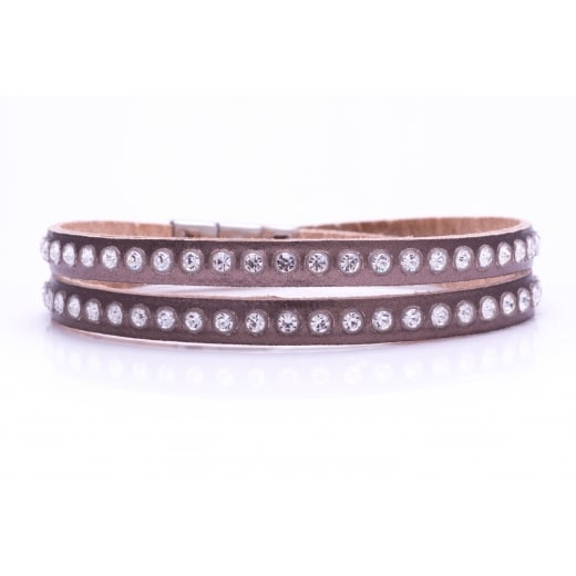 Danish Collection Leather Bracelet with Swarovski Crystals - Metallic Brown