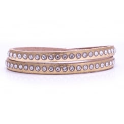 Danish Collection Leather Bracelet with Swarovski Crystals - Metallic Gold