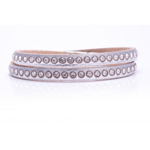 Danish Collection Leather Bracelet with Swarovski Crystals - Metallic Silver