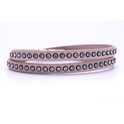 Danish Collection Leather Bracelet with Swarovski Crystals - Nude
