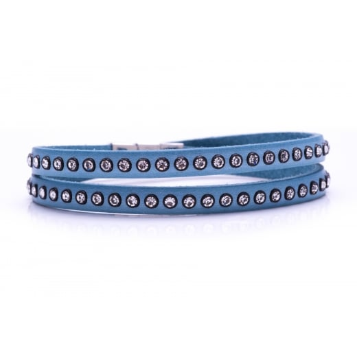 Danish Collection Leather Bracelet with Swarovski Crystals - Sea Blue