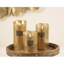 Danish Collection LED Candle w/timer - Medium Gold D8cm/H14.2cm
