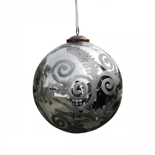 Danish Collection Medium Florentine Glass Bauble - Antique Silver
