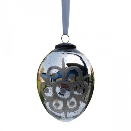 Danish Collection Medium Florentine Glass Bud Bauble - Antique Silver