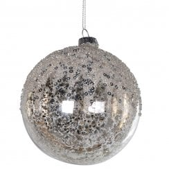Danish Collection Medium Glass Bauble with Sequin Top - Silver