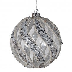 Danish Collection Medium Glass Bauble with Sequin Twists - Silver