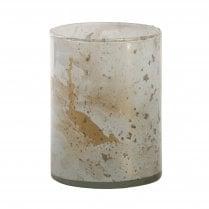 Danish Collection Medium Glass Cylinder Tealight Holder - White & Gold
