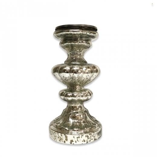 Danish Collection Medium Ornate Candle Pillar - Antique Silver