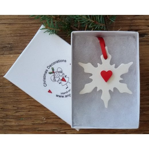 Danish Collection Medium Snowflake with Heart - White/Red