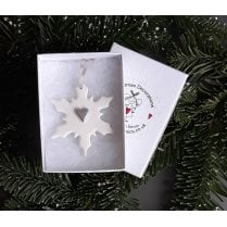 Danish Collection Medium Snowflake with Heart - White/Silver