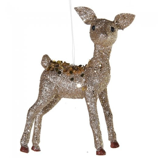Danish Collection Mini Glitter Covered Deer - Gold