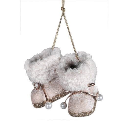 Danish Collection Mink and Glitter Booties - Pink