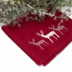 Danish Collection Napkin With Embroidered Reindeers - Red