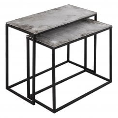 Danish Collection Occasional Table Large- Iron With Nickel Top