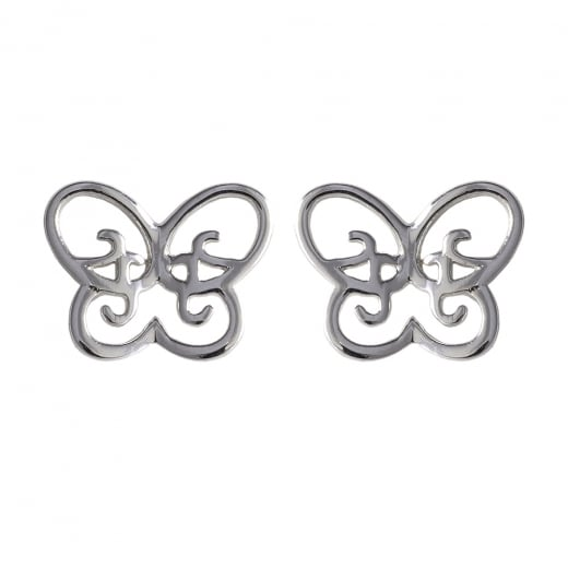 Danish Collection Open Butterfly Silver Stud Earrings