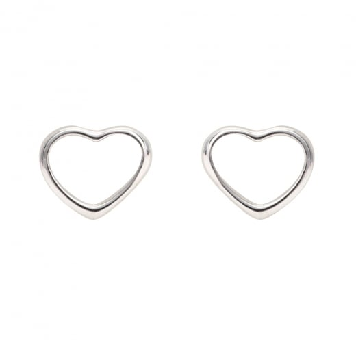 Danish Collection Open Heart Silver Stud Earrings
