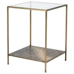 Danish Collection Oxidised effect Side Table with Glass Top