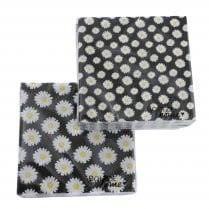 Danish Collection Paper Napkin in Black with Large Daisy Pattern