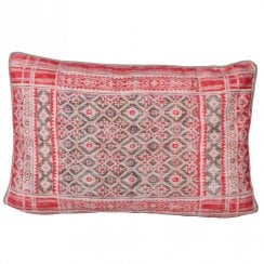 Danish Collection Pattern Cotton Fabric Cushion - Red 40x55cm (cover Only)