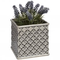 Danish Collection Patterned Square Planter - Black