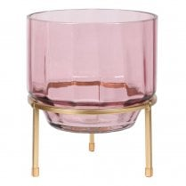 Danish Collection Pink Glass Hurricane on Stand